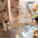 Wedding Bridal Gold Crystal Deer Beads Tiara Crown Headpiece Hair Accessories