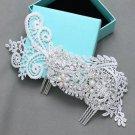 Vintage Lace Bridal Flower Pearl Rhinestone Comb Wedding Hair Crystal Headpiece