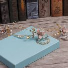 Wedding Bridal Vintage Gold Pink Blue Flower Tiara Pearl Headpiece Hair Piece