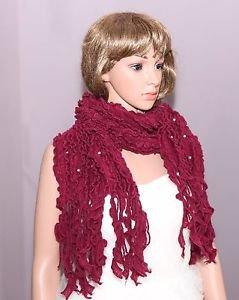 Fashion Women Ladies Pearl Azalea Acrylic Wool Winter Scarf Shawl