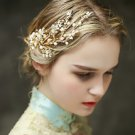 Bridal Beaded Flower Beads Ivory Pearls Headpiece Gold Hair Tiara Accessories