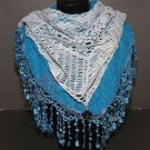 Fashion Blue Crochet Cream Lace Patch Scarf Triangle Shawl Wrap