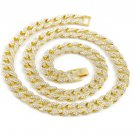 Vintage Silver Or Gold Stainless Steel Rhinestone Curb Chain Necklace Jewelry