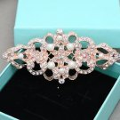 Vintage Faux Pearl Rose Gold Wedding Brooch Bridal Crystal Pin Jewelry