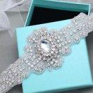 Bridal Wedding Vintage Rhinestone Crystal Ribbon Satin Sash Dress Belt