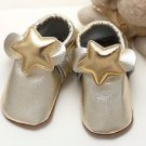 Star Baby Moccasins Infant Toddlers Bow Boys Gold Bow Genuine Leather Shoes