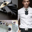 Wedding Men Fashion Party Metal Boutonniere Corsage Tie With Brooch Pin