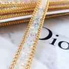2 Meter Aurora Beaded Crystal Wedding Sash Gold Chain Trim Iron Sew Applique