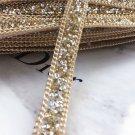2 Meter Champagne Beaded Crystal Wedding Sash Gold Chain Trim Iron Sew Applique