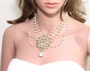 Vintage Style Faux Pearl Flower Dangle Pendant Chain Gold Necklace Jewelry