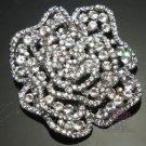 Vintage Rose Bridal Rhinestone Crystal Silver Wedding Brooch Pin Jewelry