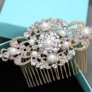Faux Pearl Yellow Gold Wedding Headpiece Bridal Hair Comb Crystal Accessories