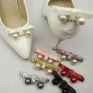Black White Color Bow Faux Pearl Ball Wedding Bridal Shoe Decoration Pair