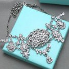 Wedding Rhinestone Crystal Vintage Pendant Necklace Bridal Bridesmaids Jewelry