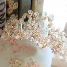 Bridal Flower Rhinestone Beads Butterfly Tiara Wedding Crown Hair Accessories
