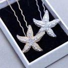 2 pcs Starfish Sea Beach Star Wedding Bridal Rhinestone Crystal Hair Pin Stick