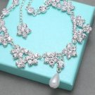 Bridal Jewelry Wedding Flower Hair Chain Pearl Earrings Necklace Set