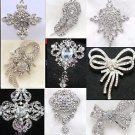 RANDOM ASSORTED OF 4 PIECES FLOWER BOUQUET CRYSTAL RHINESTONE WEDDING BROOCH PIN