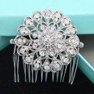 Round Flower Bridal Rhinestone Comb Vintage Wedding Hair Head Crystal Headpiece