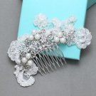 Vintage Bridal Flower Rhinestone Pearl Lace Hair Comb Wedding Crystal Headpiece