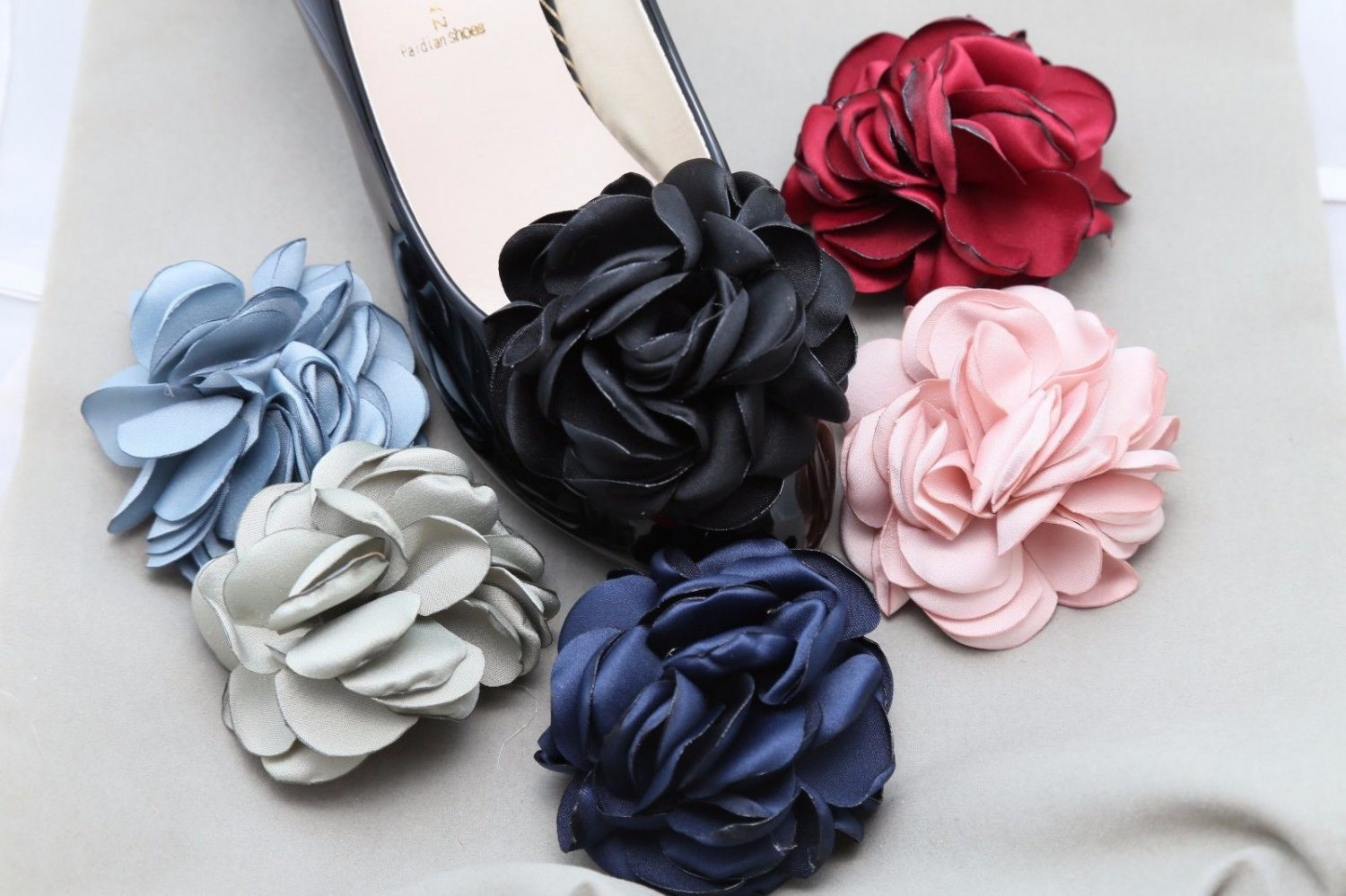 Color Fibre Rose Flower Wedding Spring Boots Shoe Clips Pair