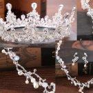 Rhinestone Wedding Bridal Beads Pearl Crown Silver Earrings Necklace Jewelry