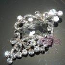 Bridal Rhinestone Crystal Rhombus Butterfly Vintage Wedding Brooch Pin