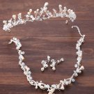 Rhinestone Wedding Bridal Beads Pearl Tiara Silver Earrings Necklace Jewelry Set