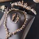 Rhinestone Wedding Bridal Beads Color Crown Gold Earrings Necklace Jewelry Set