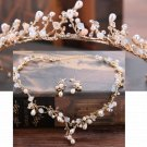 Rhinestone Wedding Bridal Beads Pearl Tiara Gold Earrings Necklace Jewelry Set
