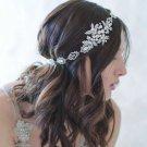 Vintage Wedding Silver Flower Hair Tiara Headband Leaf Bridal Headpiece