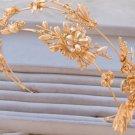 Vintage Wedding Gold Flower Hair Tiara Headband Leaf Bridal Headpiece