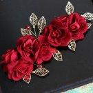 Red Rose Flower Bridal Beads Rhinestone Clip Wedding Hair Head Crystal Headpiece