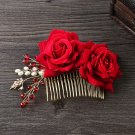 Red Rose Flower Bridal Beads Rhinestone Comb Wedding Hair Head Crystal Headpiece