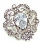 Vintage Style Clear Rhinestone Crystal Princess Wedding Brooch Pin