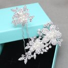 1 Set Pearl Flower Wedding Bridal Rhinestone Crystal Hair Pin Stick & Hair Clip