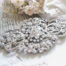 Vintage Style Bridal Rhinestone Hair Comb Wedding Crystal Gold Silver Headpiece