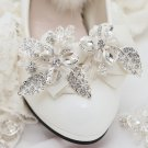 2pc x Fashion Women Flower Rhinestone Crystal Color Ribbon Bow Shoe Clips Charms