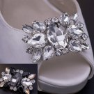 Wedding Bridal Clear Black Rhinestone Crystal Vintage Style Shoe Clips Pair