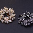 Wedding Bridal Rhinestone Crystal Gold Silver Ring Leaf Shoe Clips Pair