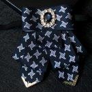 Houndstooth Pattern Wedding Men Pre Tied Color Ribbon Rhinestone Tie Neck Tie