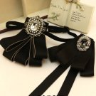 Vintage Style Black Rhinestone Pearl Men Tie BowTie Wedding Party Accessories