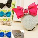 2pc x Fashion Women Sqaure Rhinestone Crystal Color Ribbon Bow Shoe Clips Charms