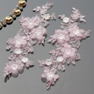 1 Pair Bridal Wedding Pink Pearl Sequin Beaded Flower Lace Pearl Applique Pair