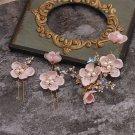 Wedding Bridal Red Pink Cream White Star Flower Pearl Tiara Pin Sticks Set