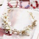 Bridal Wedding Cream Pink Flower Gold Tone Holo Hair Tiara Headpiece Accessories