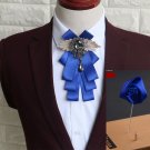 2 Items - Set of Wedding Men Pre Tied Blue Bow Tie Rose Boutonniere Brooch Pin
