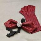 2 Items - Set of Wedding Men Pre Tied Bow Tie & Red Folded Pocket Handkerchief