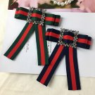 Red Blue Green Flower Crystal Fashion Ladies Men Pre Tied Bow Brooch Pin