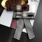 Red Green Black Crystal Pearl Fashion Ladies Men Pre Tied Bow Brooch Pin